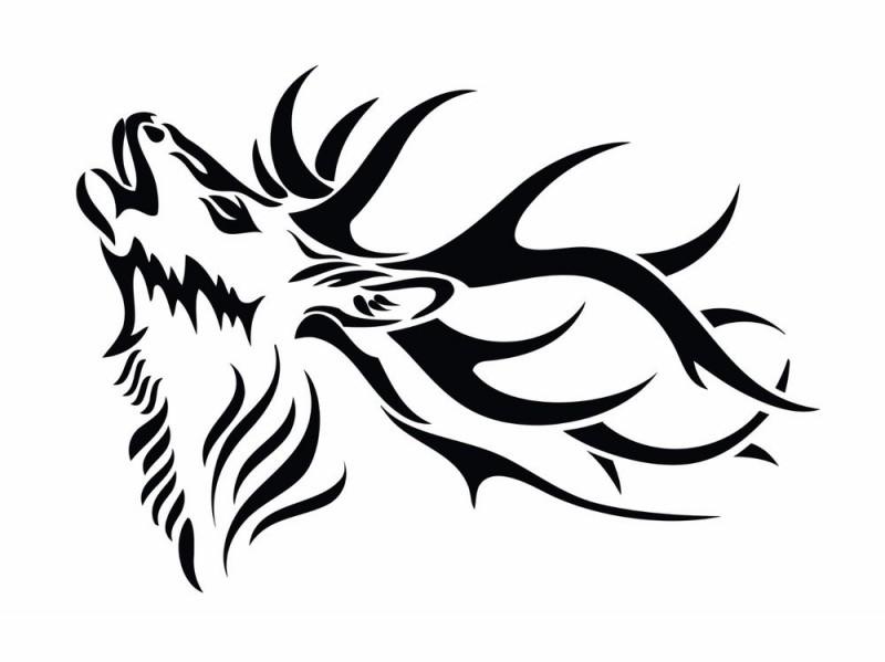 howling tribal deer tattoo design tattooimagesbiz