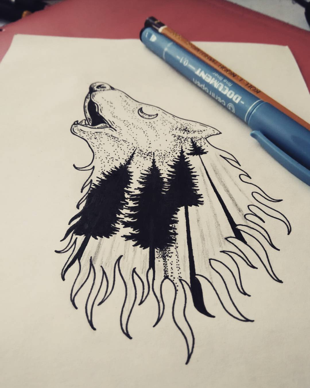 Howling wolf contour with moonlight forest pattern tattoo design