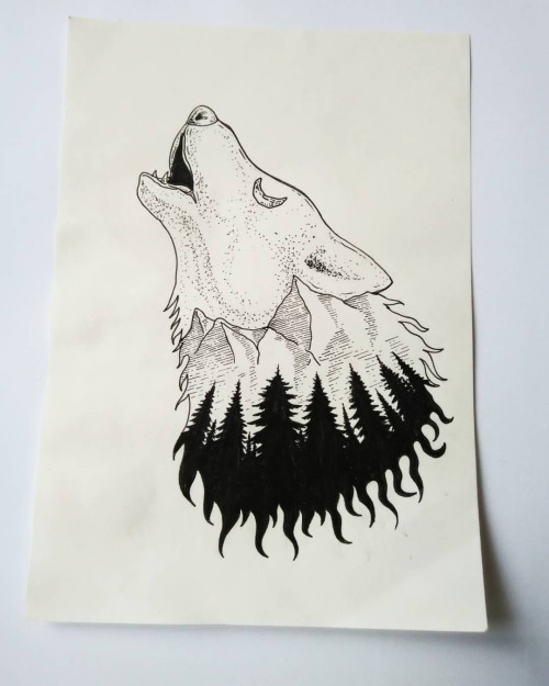 Howling wolf figure with original forest view tattoo design