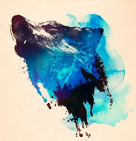 Howling wolf head design with mountains pattern on watercolor background