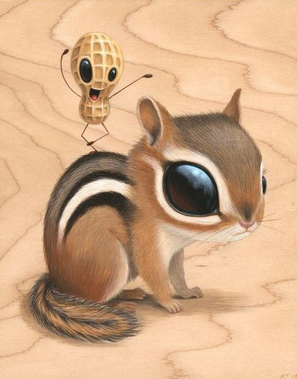 Huge-eyed sitting rodent with alive nut dancing on its back tattoo design