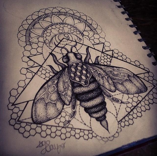 Huge bee on geometric and honeycomb background with mandala tattoo design