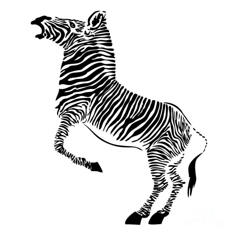 huge black and white jumping zebra tattoo design. Black Bedroom Furniture Sets. Home Design Ideas