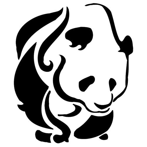 Huge black-ink tribal panda tattoo design