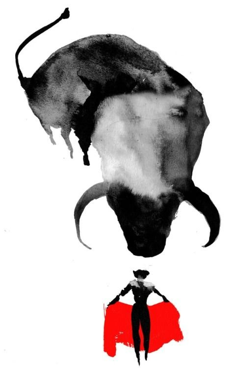 Huge black waterolor bull and man with red rug tattoo desugn
