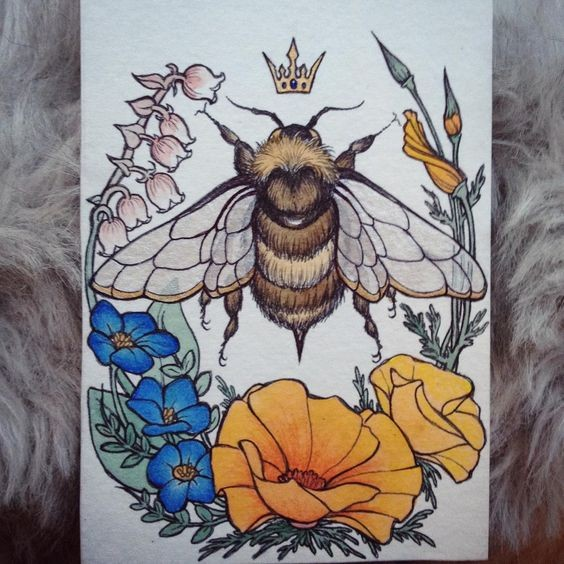 Huge crowned bee in beautiful floral wreath tattoo design