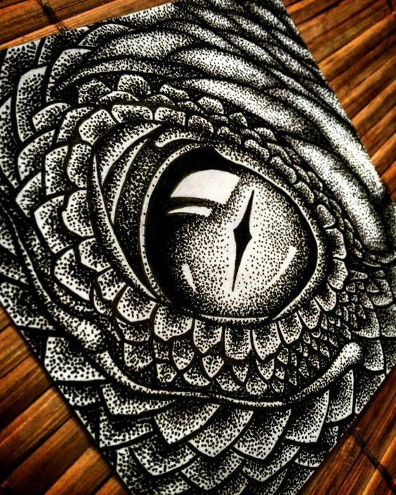 Huge dotwork reptile eye tattoo design