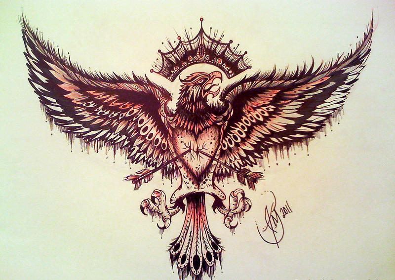 Huge eagle killed with arrows tattoo design