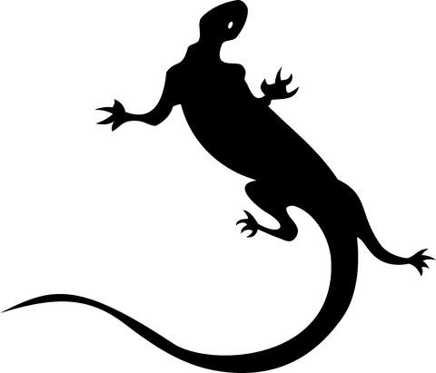 Huge full-black lizard tattoo design