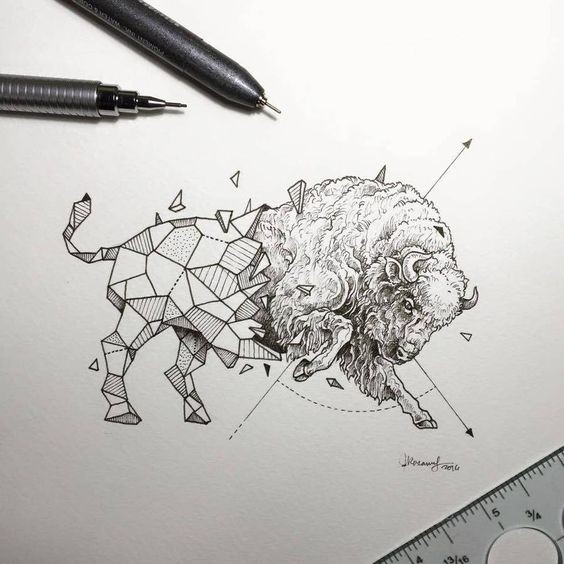 Huge Geometric Bull With Fluffy Fur Tattoo Design Tattooimagesbiz