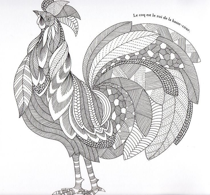 Huge grey-ink ornate rooster tattoo design