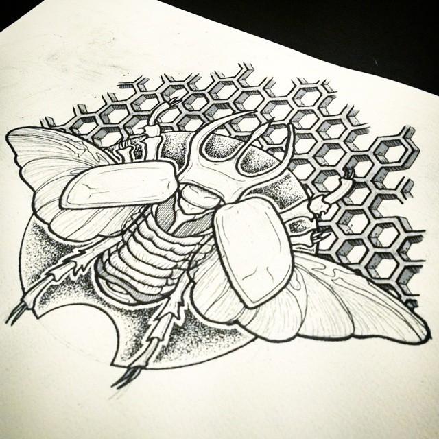 Huge grey-ink winged bug on honeycombs background tattoo design