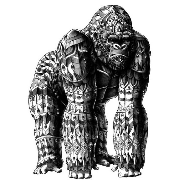 Huge grey armour gorilla in full size tattoo design