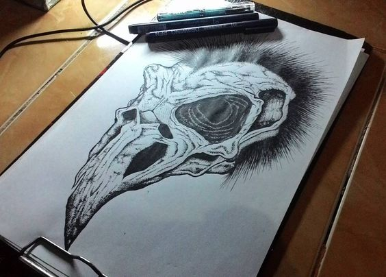 Huge raven skull tattoo design