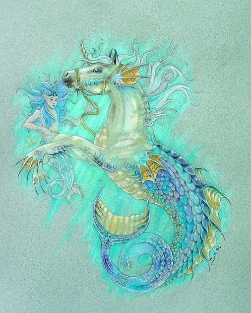 Huge seahorse and tiny blue-haired mermaid tattoo design