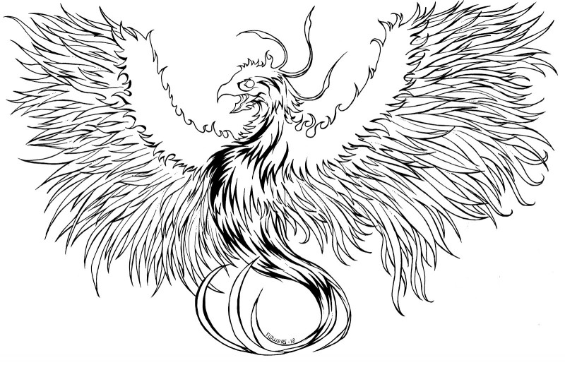 Huge uncolored phoenix with spread fire wings tattoo design