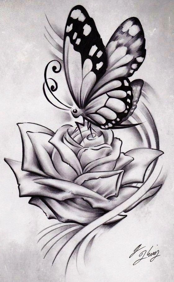 Huge white rose and little butterfly tattoo design