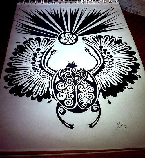 Huge winged scarab bug and shining flower symbol tattoo design