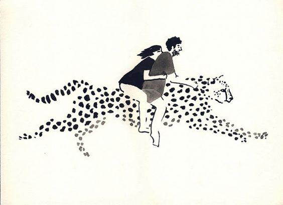 Human couple riding on gigant black-ink cheetah tattoo design