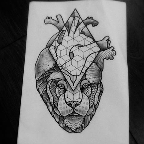 Human heart with lion and geometric elements tattoo design