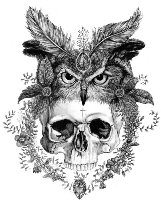 Human skull and owl decorated with feathers tattoo design