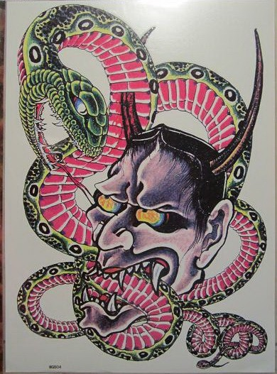 Hungry devil eating pink-belly snake tattoo design