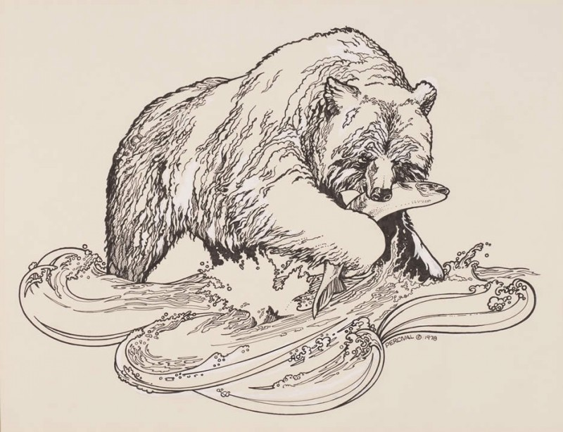 Hungry grizzly with fish in mouth tattoo design