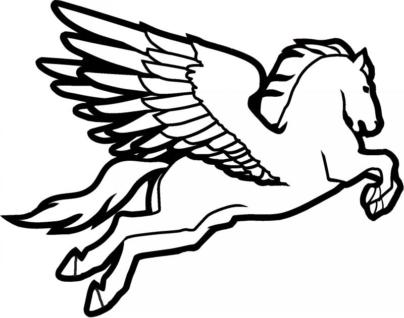 Hurried colorless pegasus tattoo design