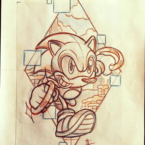 Hurried Sonic The Hedgehog On City View Rhombus Background Tattoo Design Tattooimages Biz