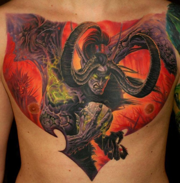 Illustrative fantasy style colored chest tattoo of Warcraft demon