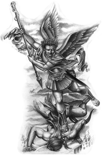 Impressive black-and-white angel fight tattoo design