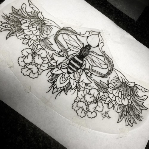 Impressive black-and-white bee surrounded with peony flowers tattoo design