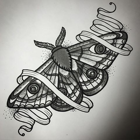 Impressive black-and-white moth curled in thin white ribbon tattoo design