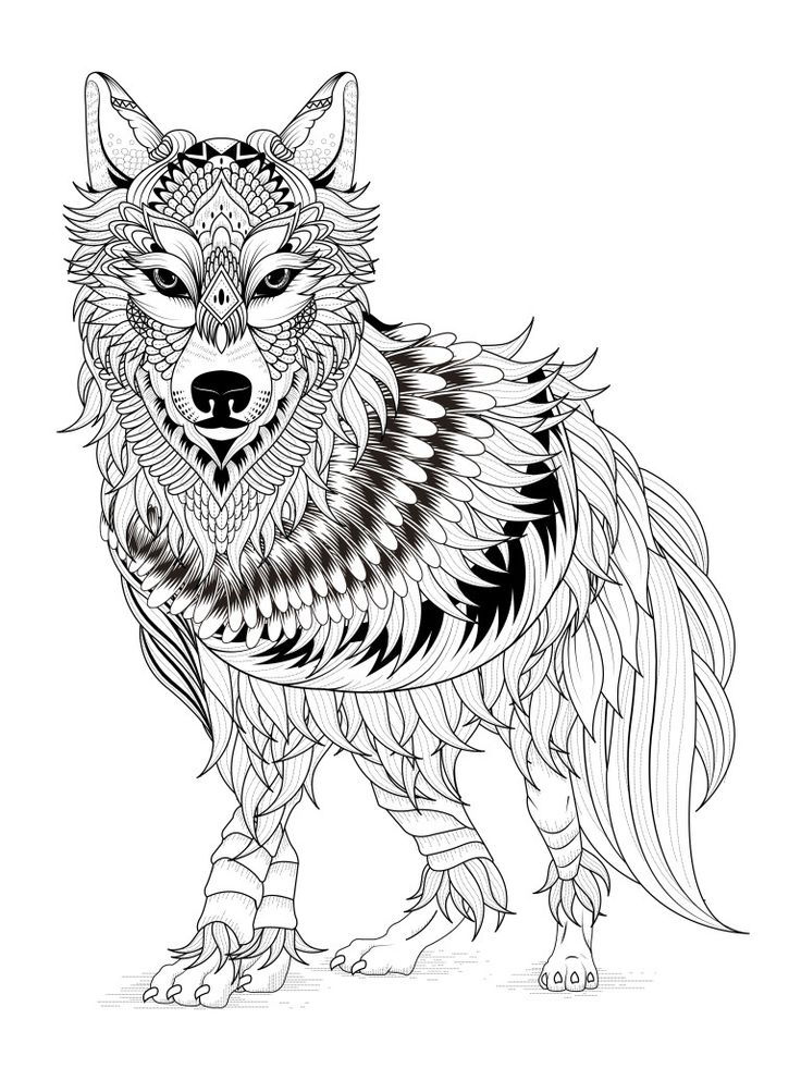 Impressive black-and-white ornamented wolf tattoo design