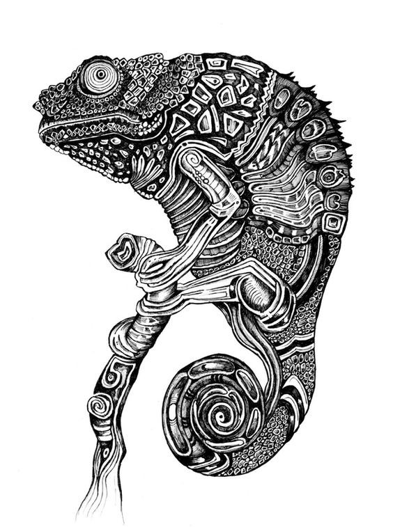 Impressive black-and-white sitting chameleon tattoo design