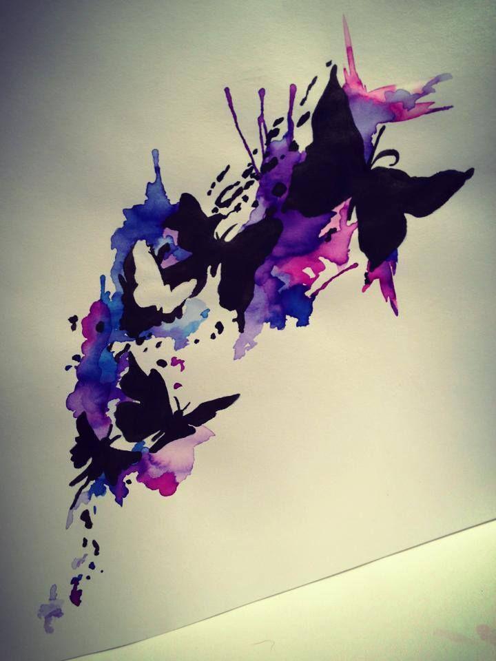 0049d818e Impressive black butterfly flock flying on purple watercolor splashes tattoo  design - Tattooimages.biz
