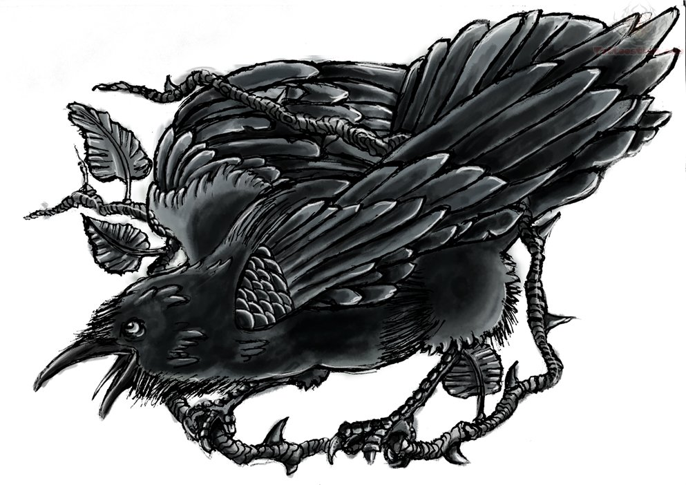 Impressive black crying raven sitting on branch tattoo design