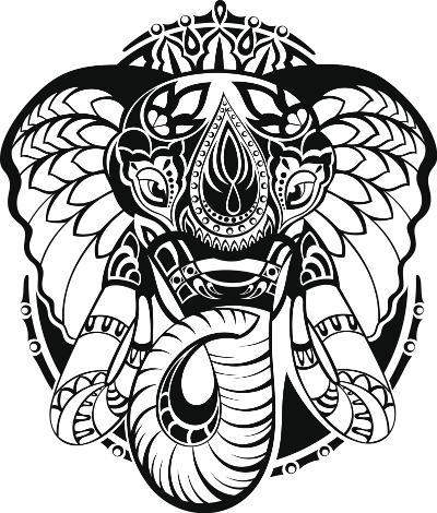 impressive black indian elephant head tattoo design. Black Bedroom Furniture Sets. Home Design Ideas