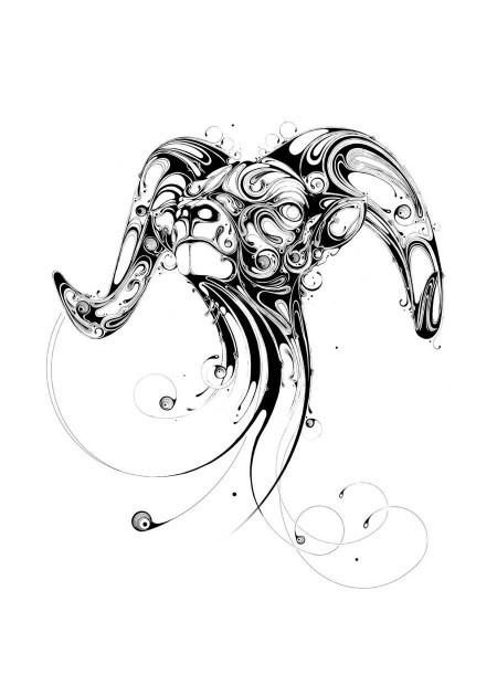 Impressive blurred-patterned ram head tattoo design