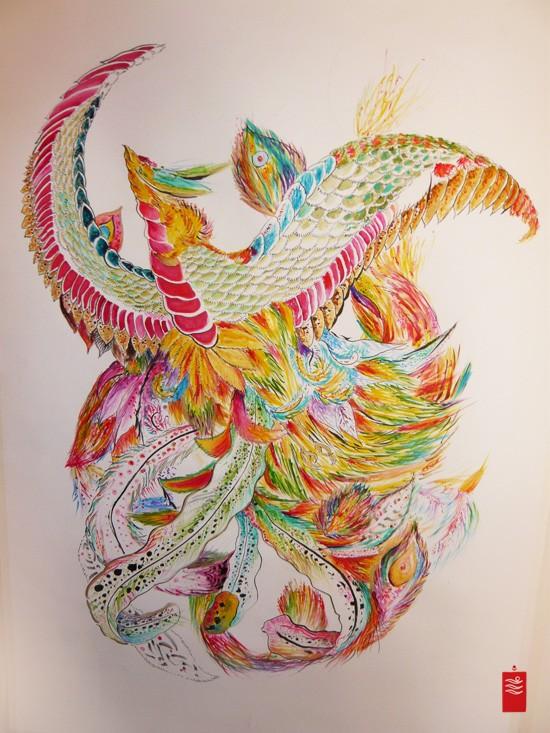 Impressive bright vivid color phoenix tattoo design