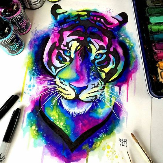 Impressive bright watercolor tiger portrait tattoo design