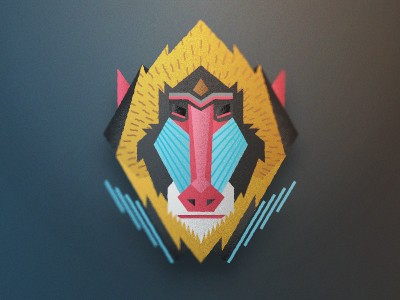 Impressive colorful baboon in geometric style tattoo design