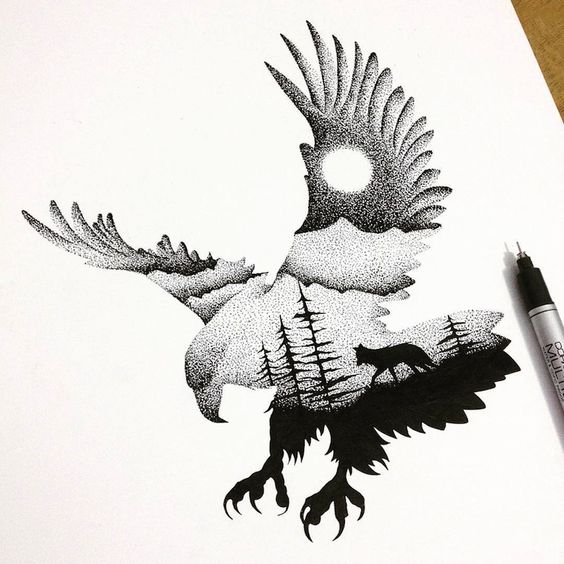 Impressive dotwork eagle with wolf in moonlight night view tattoo design