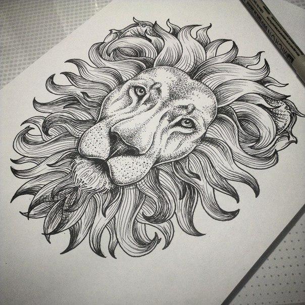 Impressive dotwork lion head tattoo design