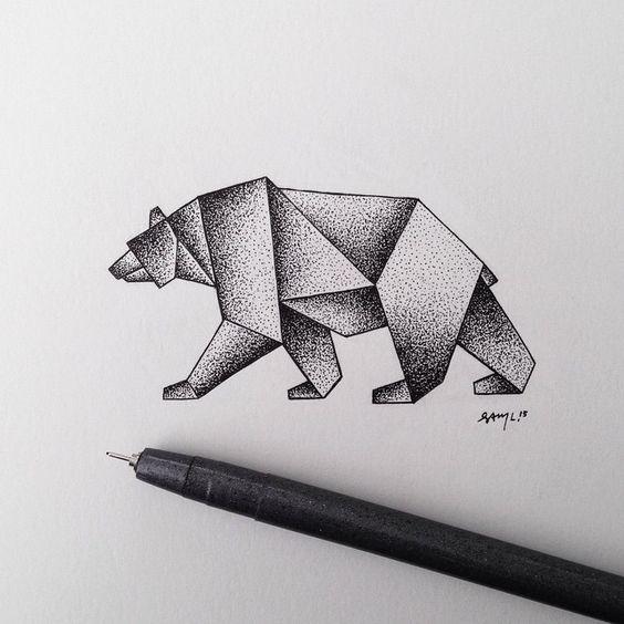 Impressive dotwork walking bear tattoo design