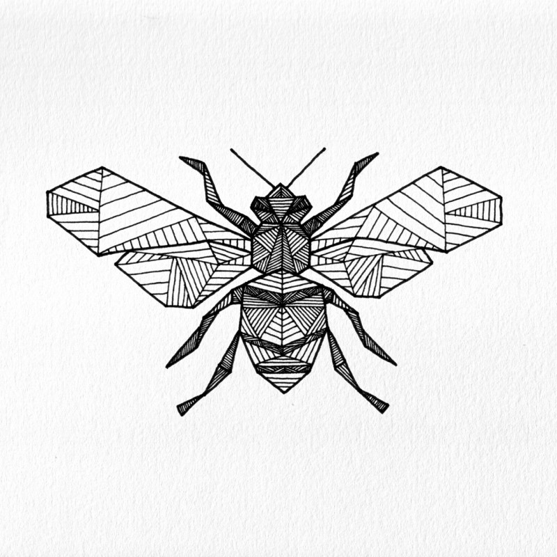 Impressive geometric bee tattoo design