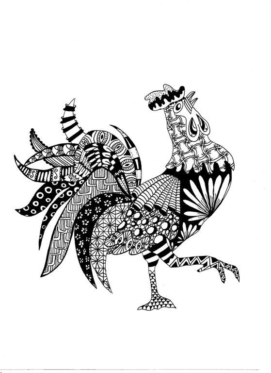Impressive grey-and-black ornate rooster tattoo design
