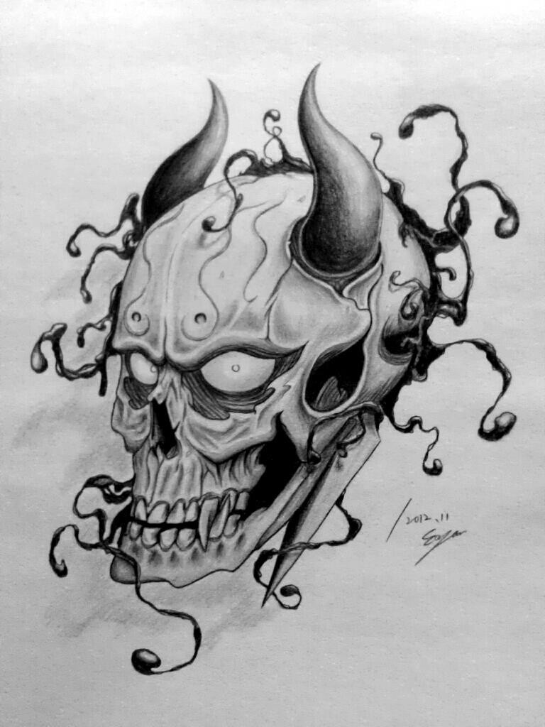 Impressive Grey Ink Devil Skull Tattoo Design By Eason41