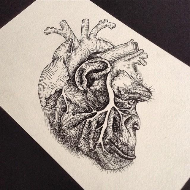Impressive grey-ink heart-shaped chimpanzee head tattoo design