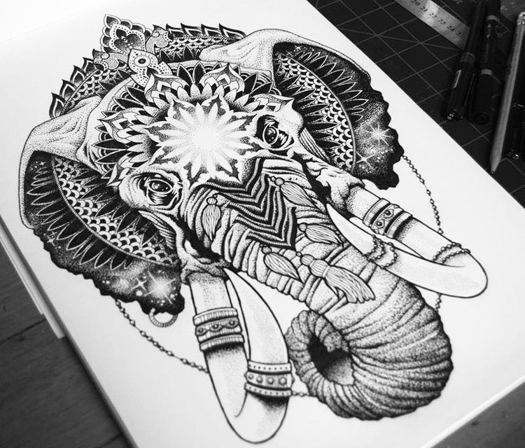 Impressive grey-ink patterned mammoth head with decorations tattoo design